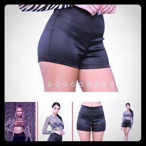 FASHION NOVA- alligator print black shorts, new